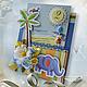Детские открытки ручной работы. Ярмарка Мастеров - ручная работа. Купить детская открытка со слоном. Handmade. Слон, голубой
