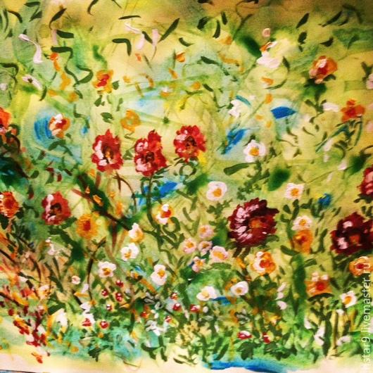 Картины цветов ручной работы. Ярмарка Мастеров - ручная работа. Купить Веселые цветочки на поляне.. Handmade. Ярко-зелёный
