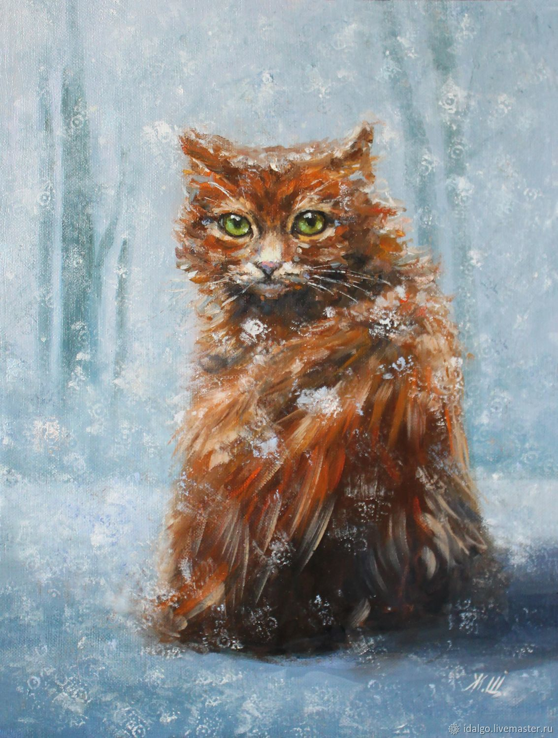 Oil painting 'In the Park the cat was sitting and catching snowflakes', Pictures, Nizhny Novgorod,  Фото №1