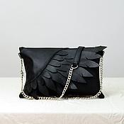Классическая сумка ручной работы. Ярмарка Мастеров - ручная работа Сумка Wings / черная кожаная сумочка. Handmade.