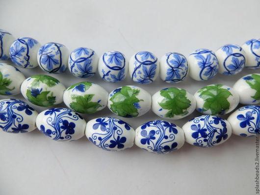 Для украшений ручной работы. Ярмарка Мастеров - ручная работа. Купить Бусины керамические синий набор. Handmade. Разноцветный, розы