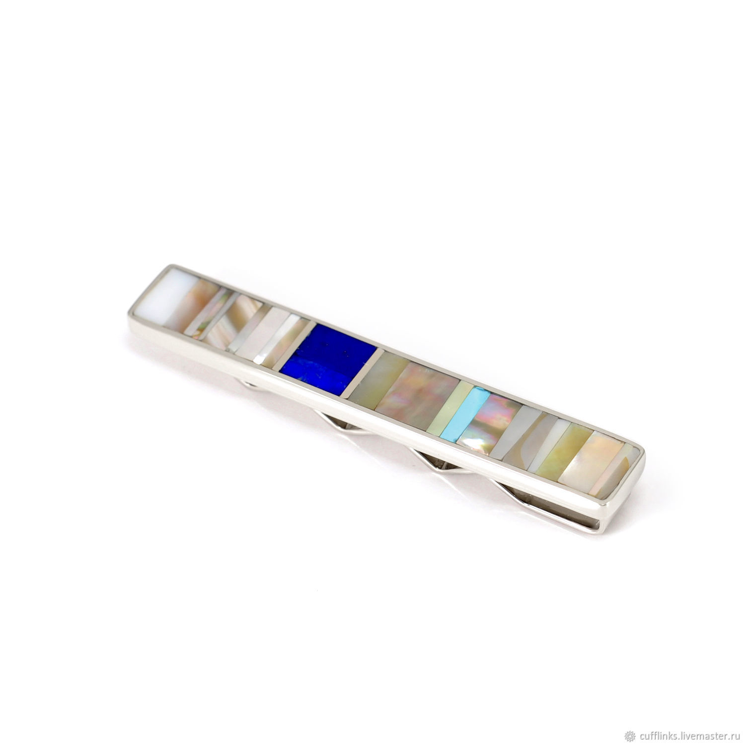 tie clip. ARIEL-MOSAIC.  Moscow. Clip TO ORDER. Clip with lapis lazuli. Clip with turquoise. The clip with mother of pearl. Clip handmade. Clip for men and women. Clip with genuine Cam