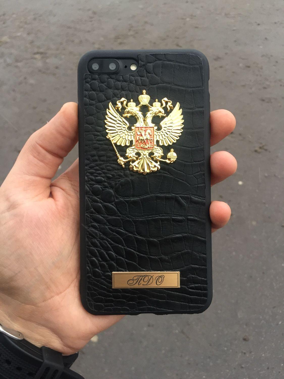 Кожаный чехол с гербом и табличкой на iPhone 7plus/8plus, Чехол, Москва,  Фото №1