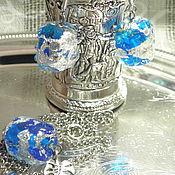 """Украшения ручной работы. Ярмарка Мастеров - ручная работа Комплект """"Синий лёд"""" серьги и кулон лэмпворк. Handmade."""