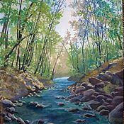 Картины ручной работы. Ярмарка Мастеров - ручная работа Картины: Лесная река. Handmade.