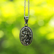 Украшения handmade. Livemaster - original item Pendant with natural pyrite in a frame of 925 silver. Handmade.