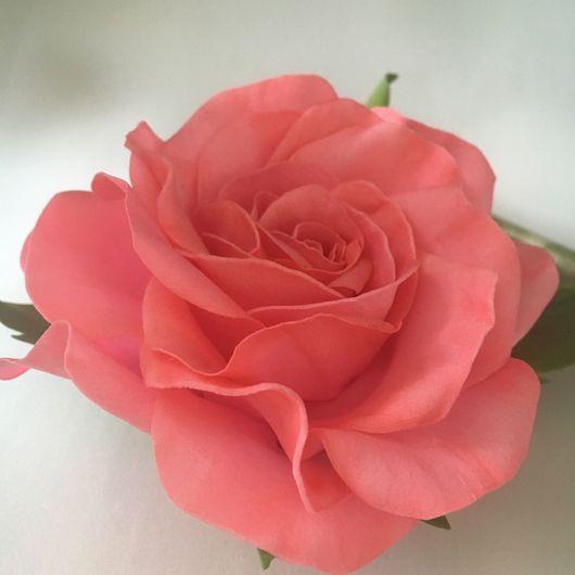 Цветы ручной работы. Ярмарка Мастеров - ручная работа. Купить Брошь Роза. Handmade. Роза ручной работы, зефирный фоамиран
