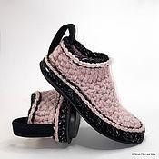 Обувь ручной работы handmade. Livemaster - original item Slippers-socks on the sole, half-wool, pink. Handmade.