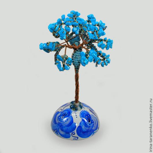 Дерево из бирюзы на расписной сфере `Счастье влюбленных`