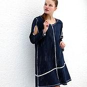 Одежда ручной работы. Ярмарка Мастеров - ручная работа Темо-синиее платье 1 с открытими плечами. Handmade.
