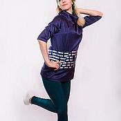 """Одежда ручной работы. Ярмарка Мастеров - ручная работа Туника женская """"Синий прямоугольник"""". Handmade."""