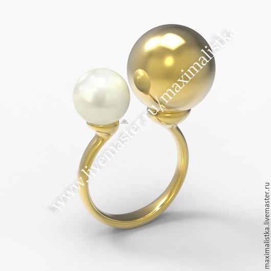 Золотое Кольцо - шарики Асимметрия из золота 585 пробы