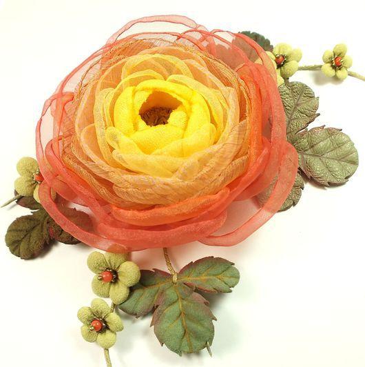 Броши ручной работы. Ярмарка Мастеров - ручная работа. Купить Цветы Огненной Долины. Брошь-цветок из ткани и натуральной кожи. Handmade.