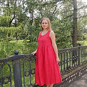 "Одежда handmade. Livemaster - original item Red linen summer dress ""Peasant girl"". Handmade."