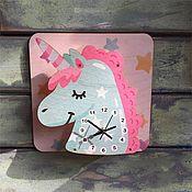 Для дома и интерьера ручной работы. Ярмарка Мастеров - ручная работа Детские настенные часы Единорог. Handmade.