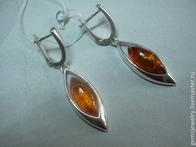 Earrings 'JAM' AMBER,925 sterling silver, Earrings, Ekaterinburg,  Фото №1