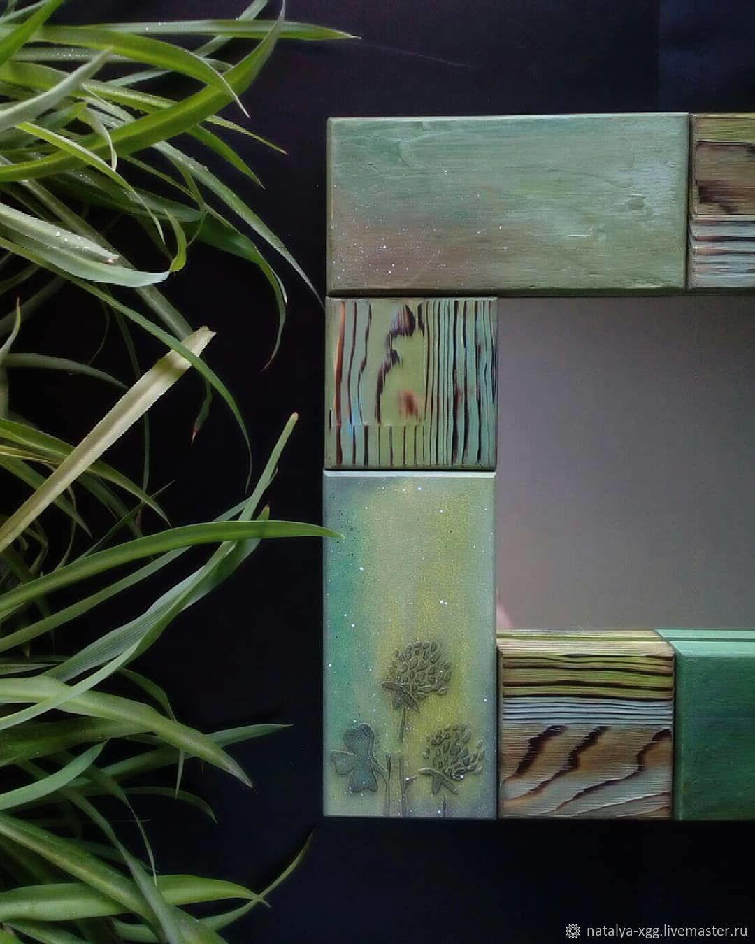 Зеркало в деревянной зеленой раме, Зеркала, Барнаул,  Фото №1