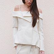 Одежда ручной работы. Ярмарка Мастеров - ручная работа Элегантный женский пиджак/Пиджак с открытой спиной/ F1550. Handmade.