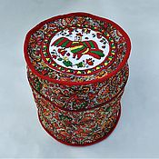 Русский стиль handmade. Livemaster - original item Quilted box with hand embroidery