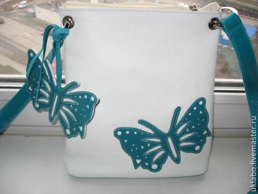 Женские сумки ручной работы. Ярмарка Мастеров - ручная работа. Купить Сумочка планшет из натуральной кожи. Полет голубых бабочек. Handmade.