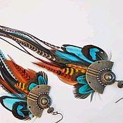 Украшения handmade. Livemaster - original item Turquoise boho feather earrings.. Handmade.