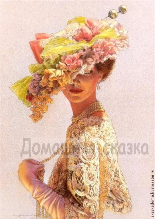 Принт для вышивки лентами дама в шляпе