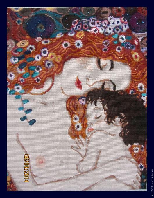 """Репродукции ручной работы. Ярмарка Мастеров - ручная работа. Купить """"Материнская любовь"""" Г.Климт. Handmade. Тёмно-синий"""