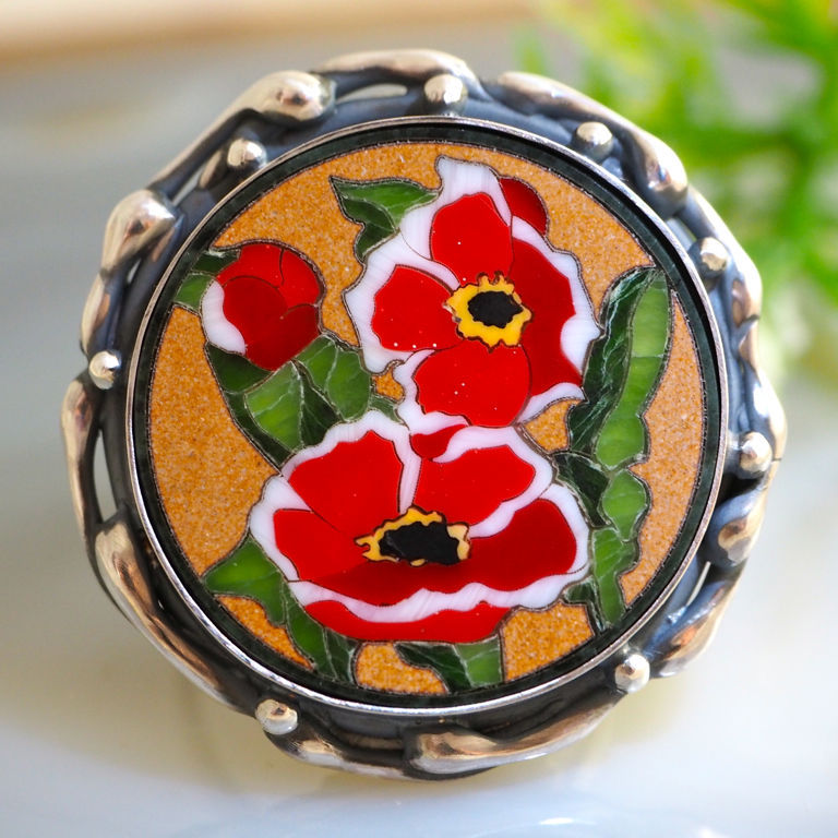 Ring 'Poppies' - the Florentine mosaic silver, Rings, Prague,  Фото №1