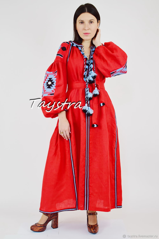 Vyshyvanka Red Maxi Dress Boho style Vita Kin, Dresses, Chernovtsy,  Фото №1