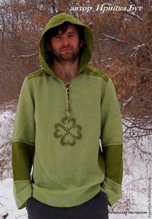 """Одежда ручной работы. Ярмарка Мастеров - ручная работа. Купить Рубаха льняная """"Клевер на счастье"""". Handmade. Салатовый, Льняная рубаха"""
