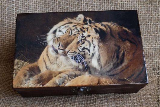 """Шкатулки ручной работы. Ярмарка Мастеров - ручная работа. Купить Шкатулка-купюрница """"Тигры"""". Handmade. Черный, купюрница-шкатулка, тигр"""