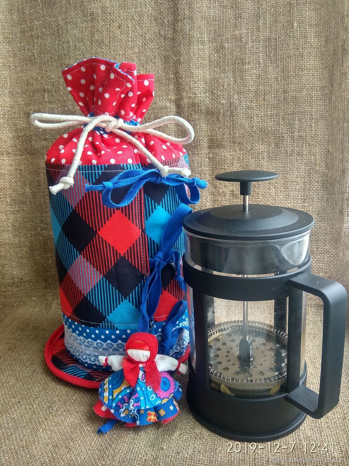 Hot water bottle on the kettle French press. Favorite cell, Teapot cover, Salavat,  Фото №1