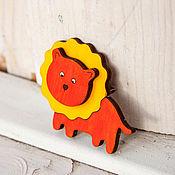 Украшения handmade. Livemaster - original item Brooch wooden lion. Handmade.