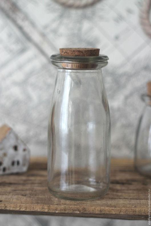 Упаковка ручной работы. Ярмарка Мастеров - ручная работа. Купить Стеклянная бутылочка с пробкой  200 мл. Handmade. Серый