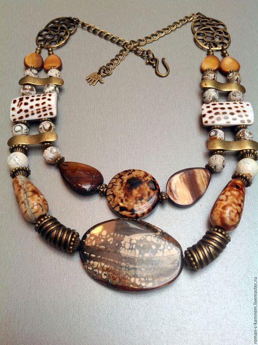 Колье бусы из натуральных камней и природных материалов в этническом африканском стиле Тропой тигра. Оригинальный подарок для стильных женщин и девушек.
