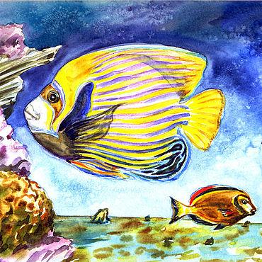 Картины и панно ручной работы. Ярмарка Мастеров - ручная работа Морские рыбы, акварельная картина.. Handmade.