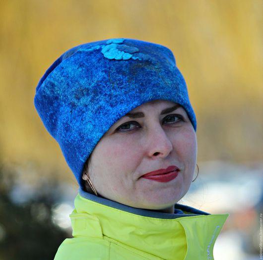 """Шапки ручной работы. Ярмарка Мастеров - ручная работа. Купить Шапка валяная """"Blue turquoise"""".. Handmade. Синий, валяная шапка"""
