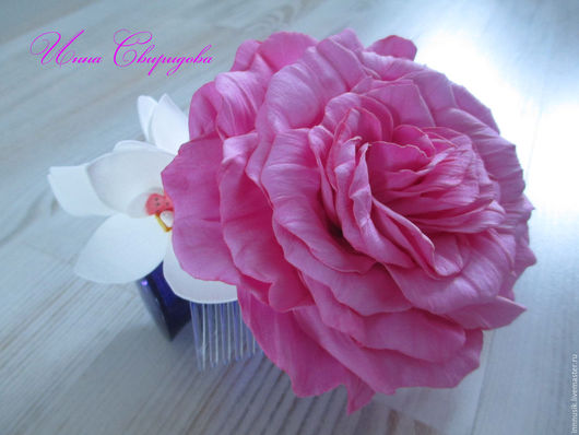 """Диадемы, обручи ручной работы. Ярмарка Мастеров - ручная работа. Купить Гребень """"Роза+орхидеи"""". Handmade. Розовый, украшения ручной работы"""