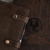 Канцелярские товары handmade. Livemaster - original item Leather notebook A5 Anoa, Brown crazy horse. Handmade.