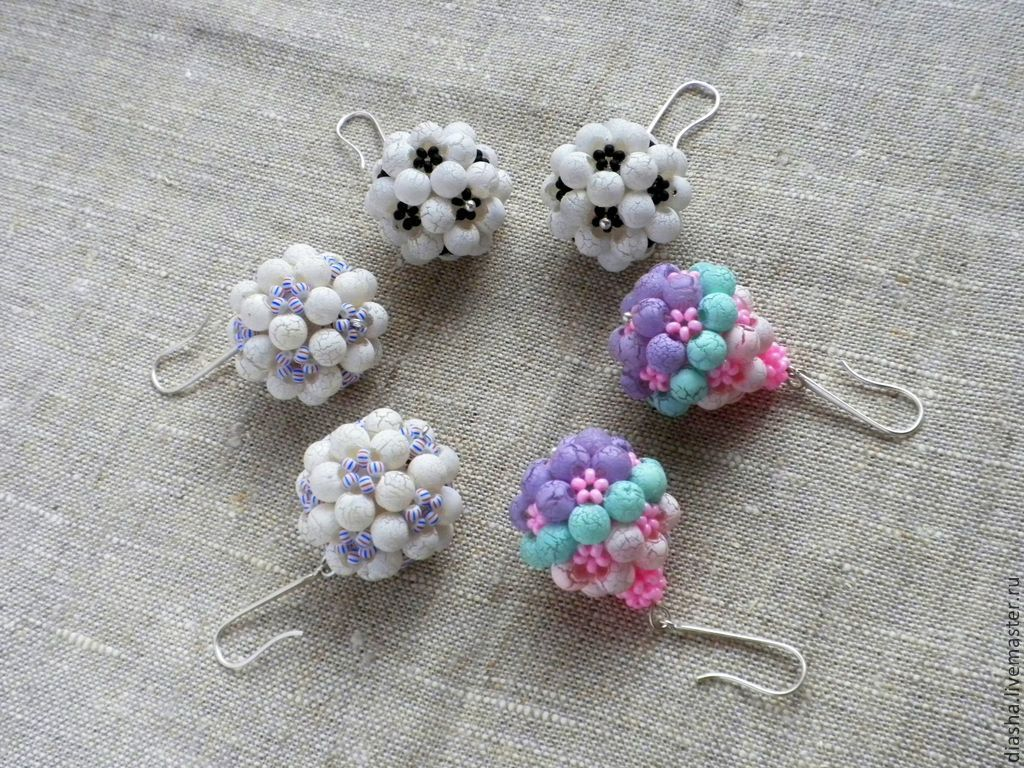 Earrings soccer balls, brownies, balls in stock black and white