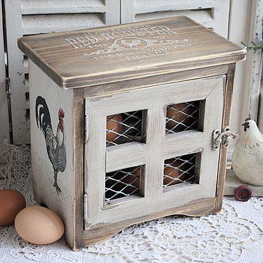 """Для дома и интерьера ручной работы. Ярмарка Мастеров - ручная работа Шкафчик - ящик подставка для яиц """"Домашняя ферма"""". Handmade."""