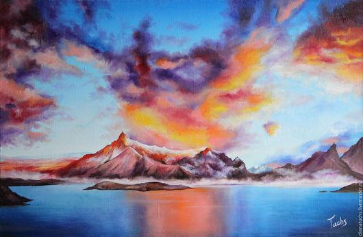 Пейзаж ручной работы. Ярмарка Мастеров - ручная работа. Купить Горы у океана. Handmade. Горы, закат, природа, масляные краски