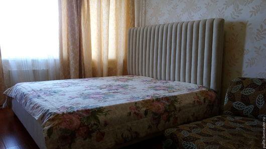 Мебель ручной работы. Ярмарка Мастеров - ручная работа. Купить Кровать с объёмным мягким изголовьем. Handmade. Серый, мягкая мебель