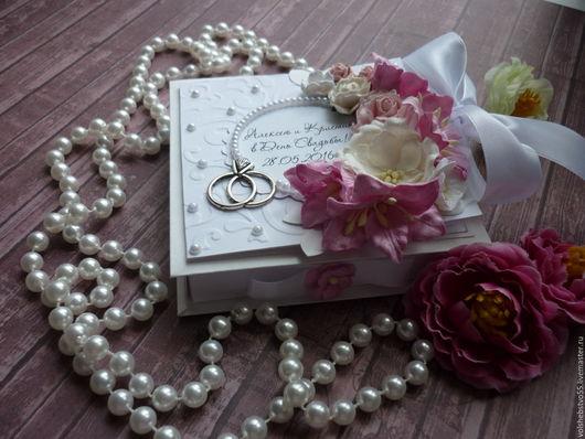 """Конверты для денег ручной работы. Ярмарка Мастеров - ручная работа. Купить Свадебная коробочка для денег """"Нежный бело-розовый"""". Handmade."""