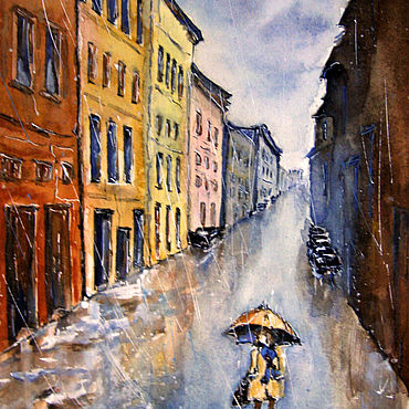 Pictures and panels handmade. Livemaster - original item Watercolor painting landscape AUTUMN RAIN. Handmade.