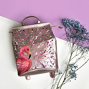 Backpacks handmade. Livemaster - original item Pink leather backpack with hand-painted Flamingos. Handmade.