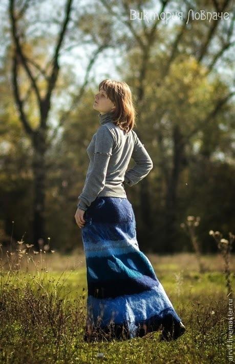 """Юбки ручной работы. Ярмарка Мастеров - ручная работа. Купить Войлочная юбка и варежки """"Аквамарин"""".. Handmade. Синий, войлочная юбка"""