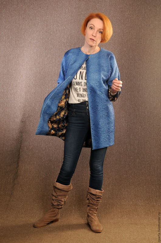 Пиджаки, жакеты ручной работы. Ярмарка Мастеров - ручная работа. Купить Жакет. Handmade. Тёмно-синий, джерси