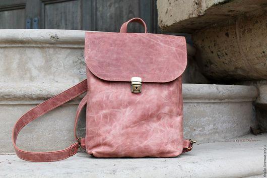 Рюкзаки ручной работы. Ярмарка Мастеров - ручная работа. Купить Рюкзак арт. 293/рыже-розовый. Handmade. Коралловый, кожаный рюкзак