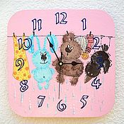 Для дома и интерьера handmade. Livemaster - original item Friends wall clock, clock, wooden handmade, baby. Handmade.